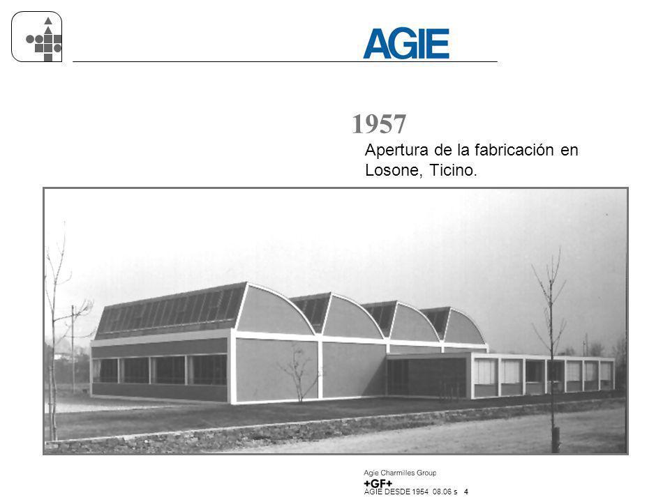 1957 Apertura de la fabricación en Losone, Ticino.
