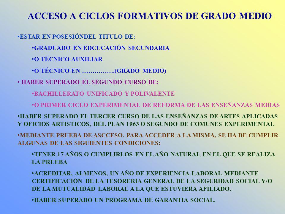 ACCESO A CICLOS FORMATIVOS DE GRADO MEDIO