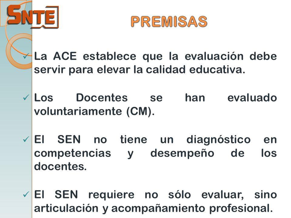 PREMISAS La ACE establece que la evaluación debe servir para elevar la calidad educativa. Los Docentes se han evaluado voluntariamente (CM).