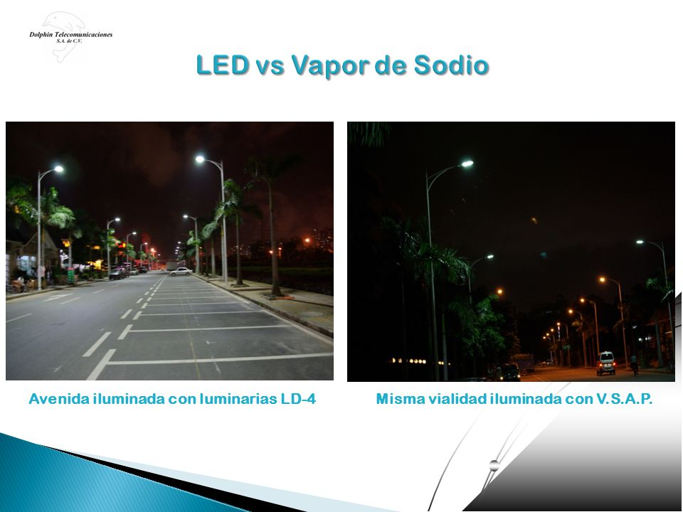 LED vs Vapor de Sodio Avenida iluminada con luminarias LD-4