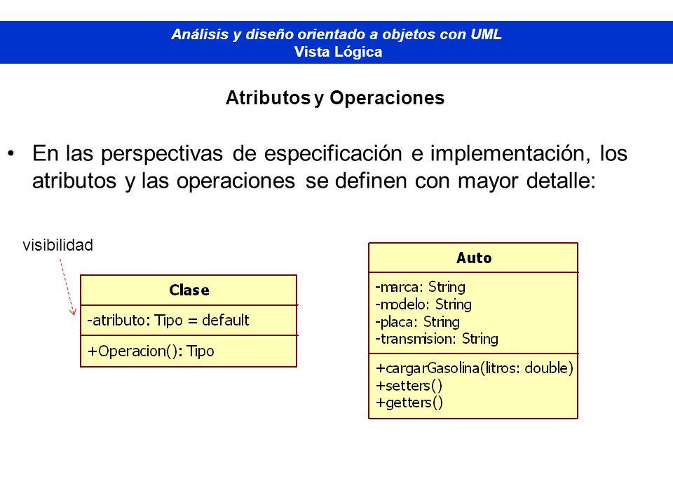 Análisis y diseño orientado a objetos con UML Atributos y Operaciones