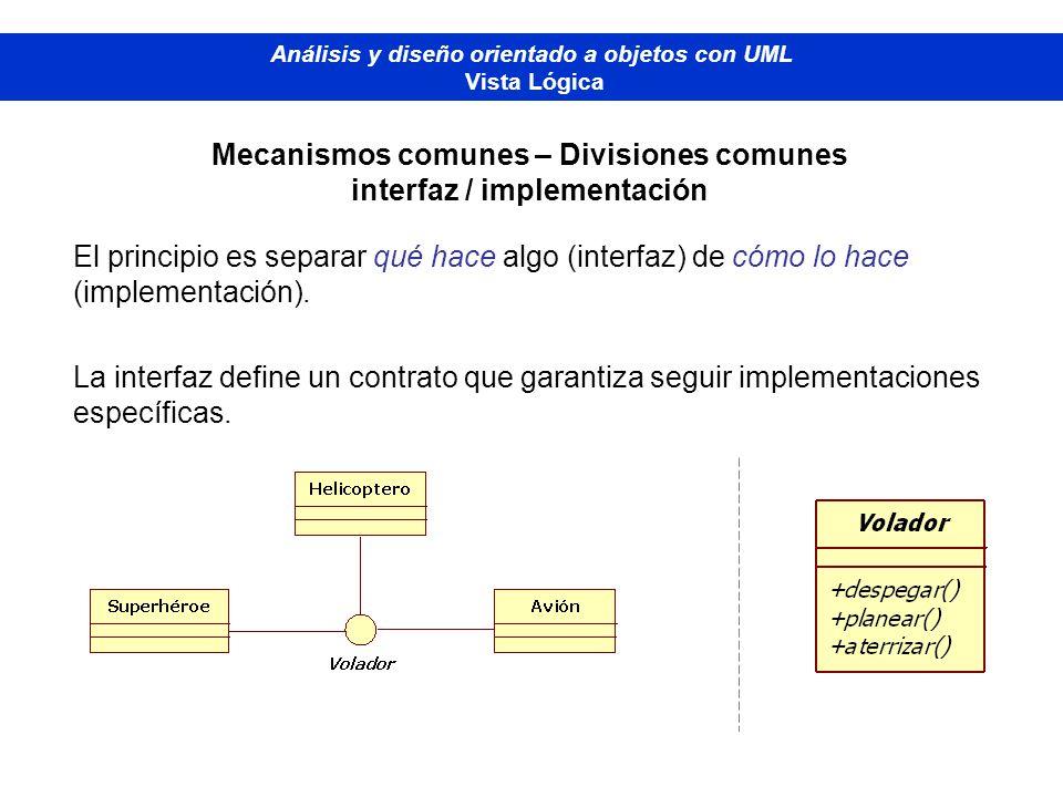 Mecanismos comunes – Divisiones comunes interfaz / implementación