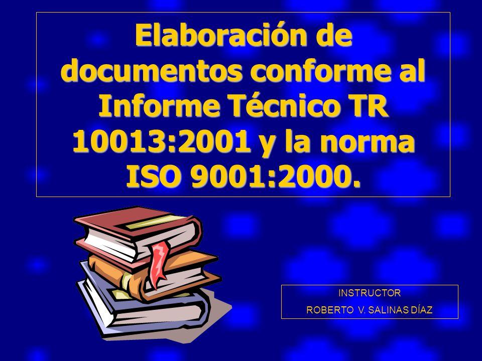 Elaboración de documentos conforme al Informe Técnico TR 10013:2001 y la norma ISO 9001:2000.
