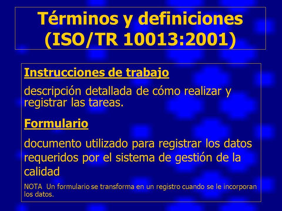 Términos y definiciones (ISO/TR 10013:2001)