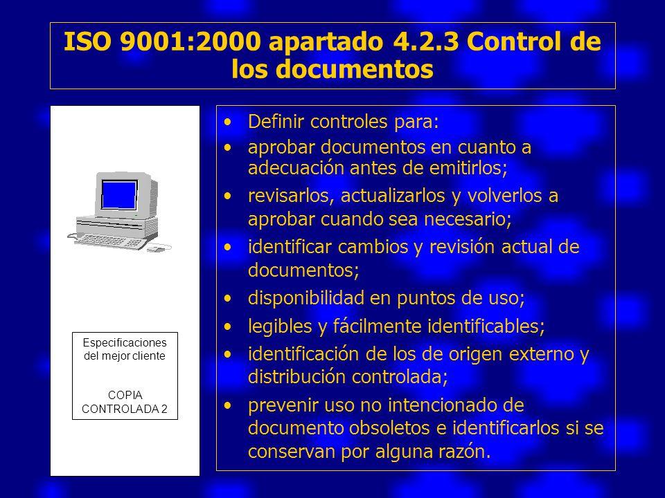ISO 9001:2000 apartado 4.2.3 Control de los documentos