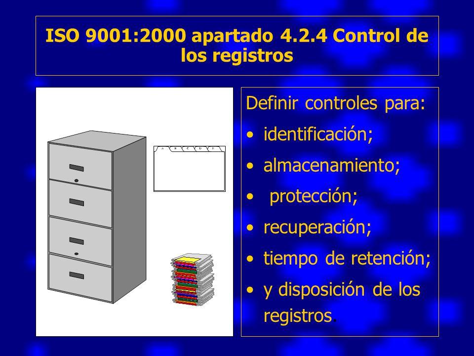 ISO 9001:2000 apartado 4.2.4 Control de los registros