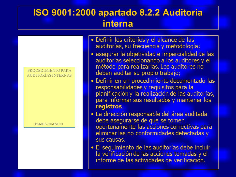 ISO 9001:2000 apartado 8.2.2 Auditoría interna