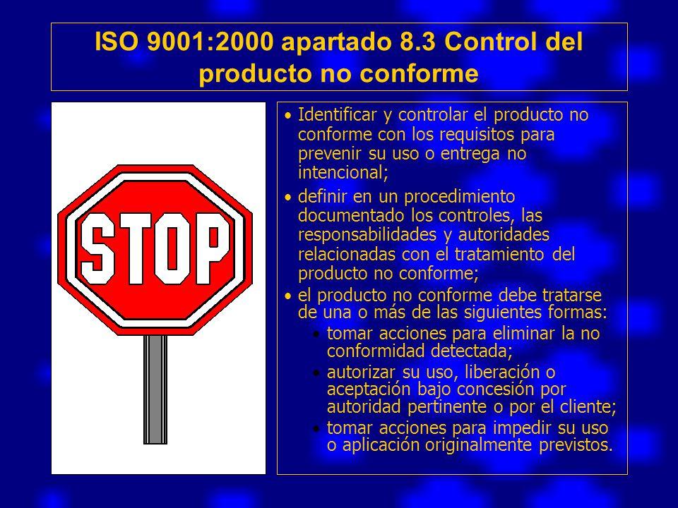 ISO 9001:2000 apartado 8.3 Control del producto no conforme