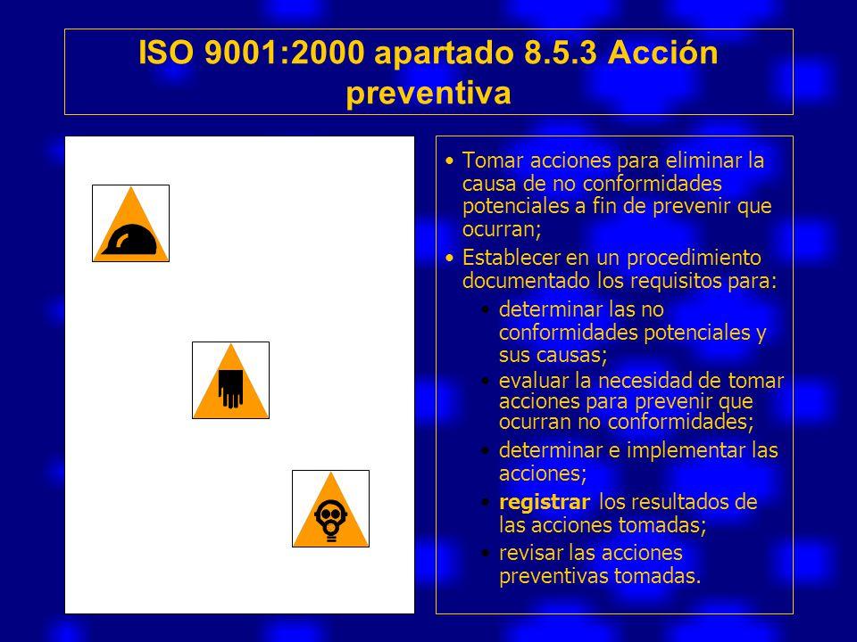 ISO 9001:2000 apartado 8.5.3 Acción preventiva