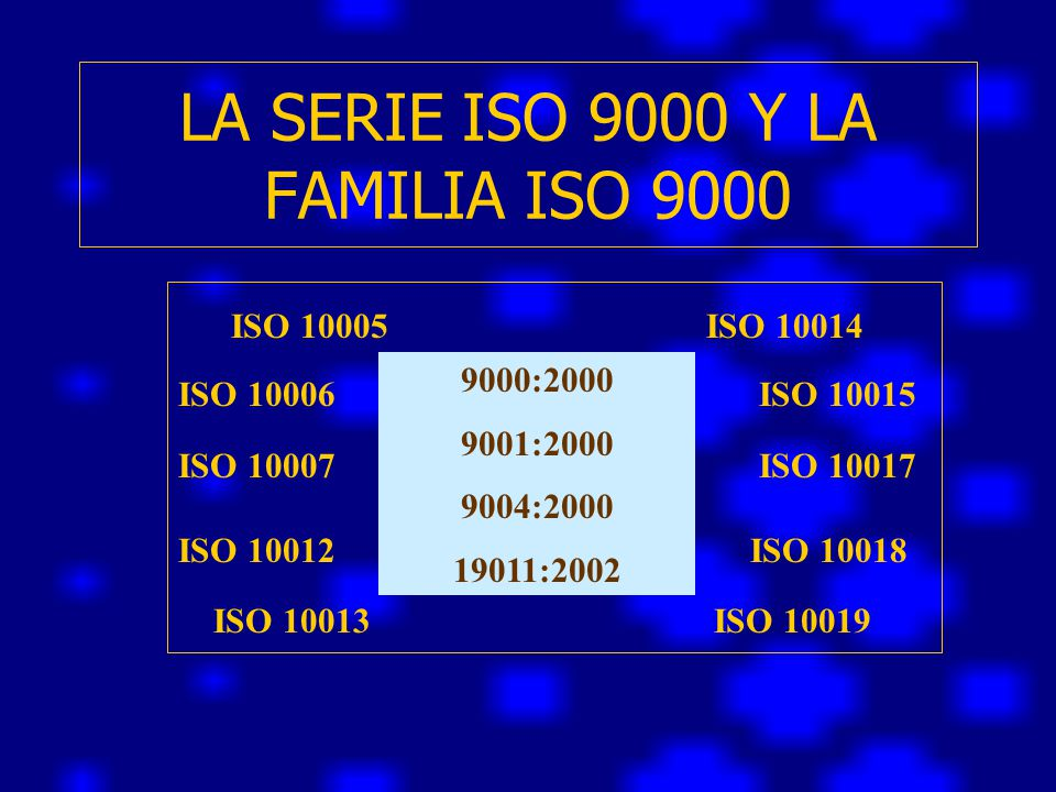 LA SERIE ISO 9000 Y LA FAMILIA ISO 9000
