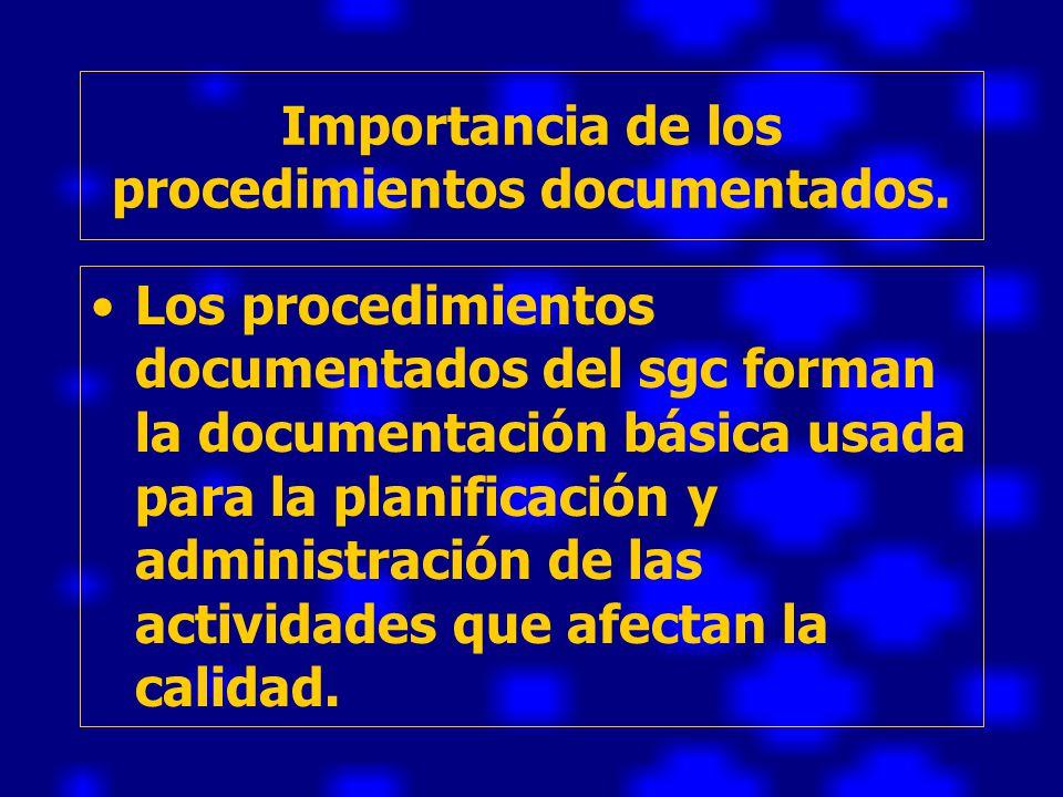 Importancia de los procedimientos documentados.