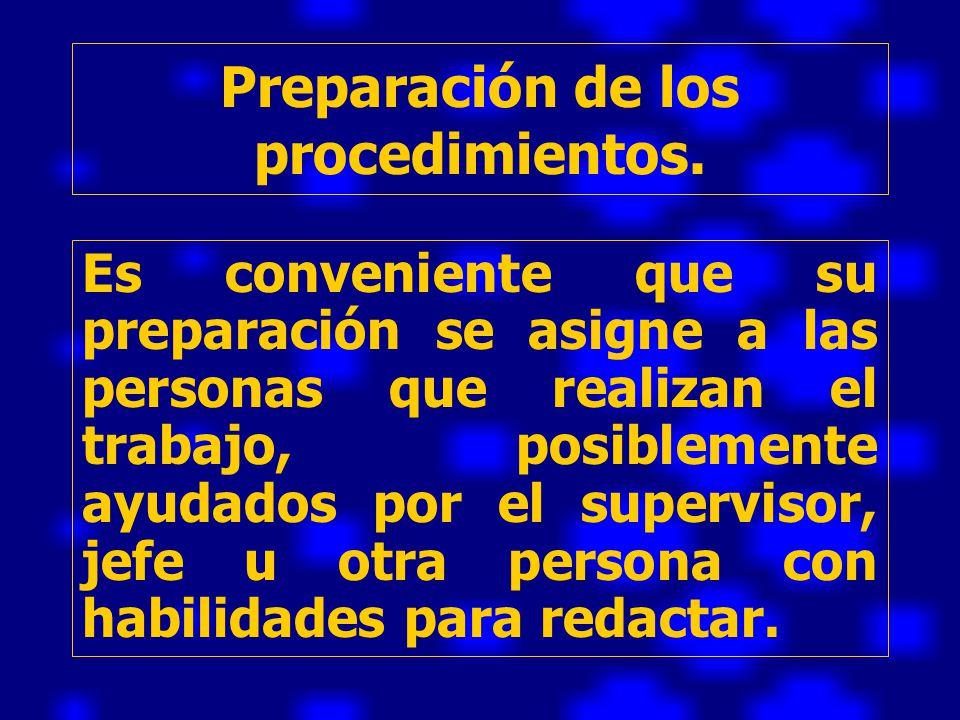 Preparación de los procedimientos.