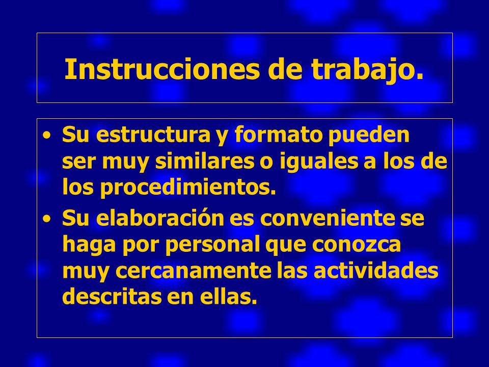Instrucciones de trabajo.