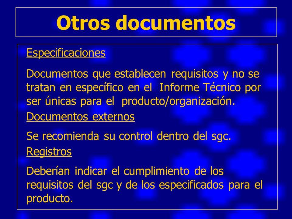 Otros documentos Especificaciones