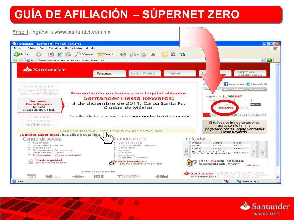 Paso 1: Ingresa a www.santander.com.mx