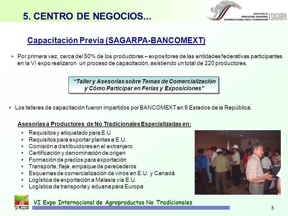 5. CENTRO DE NEGOCIOS... Capacitación Previa (SAGARPA-BANCOMEXT)