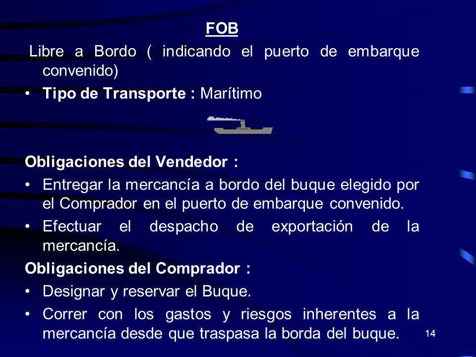 FOB Libre a Bordo ( indicando el puerto de embarque convenido) Tipo de Transporte : Marítimo. Obligaciones del Vendedor :
