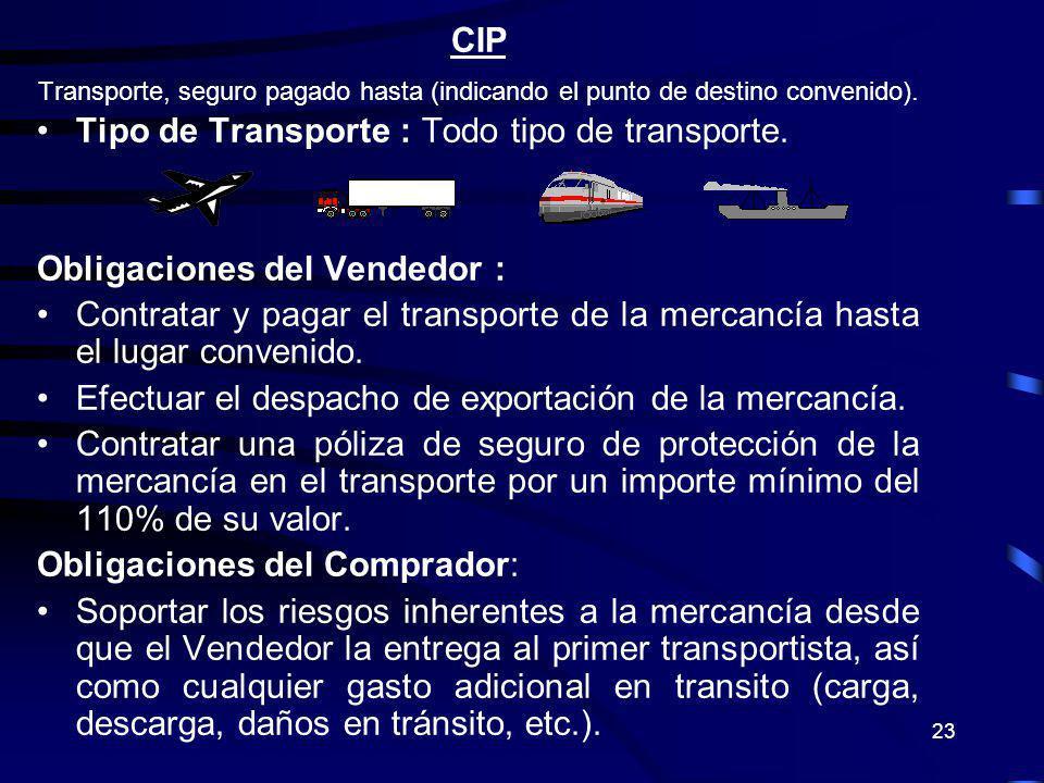 Tipo de Transporte : Todo tipo de transporte.