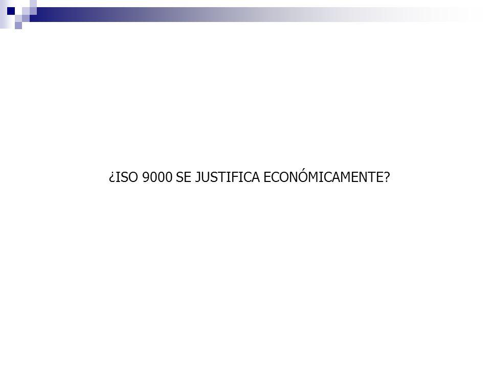 ¿ISO 9000 SE JUSTIFICA ECONÓMICAMENTE