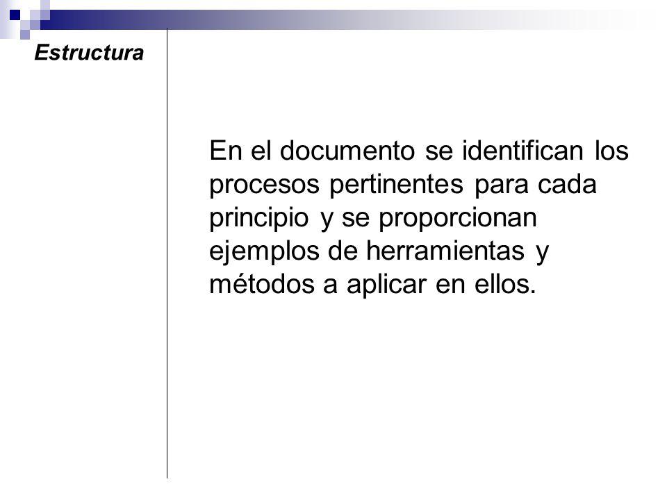 En el documento se identifican los procesos pertinentes para cada