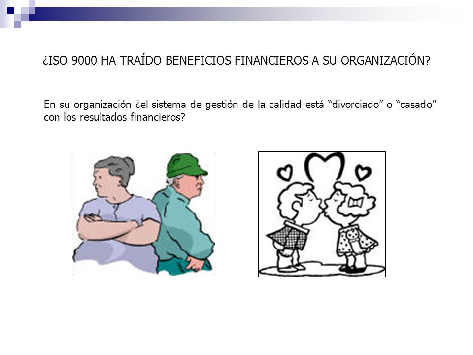 ¿ISO 9000 HA TRAÍDO BENEFICIOS FINANCIEROS A SU ORGANIZACIÓN
