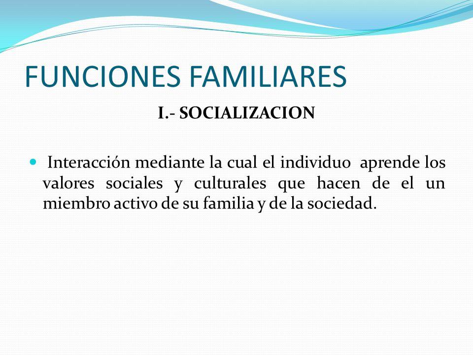 FUNCIONES FAMILIARES I.- SOCIALIZACION