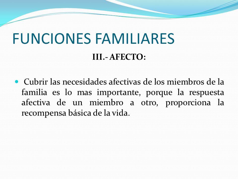 FUNCIONES FAMILIARES III.- AFECTO:
