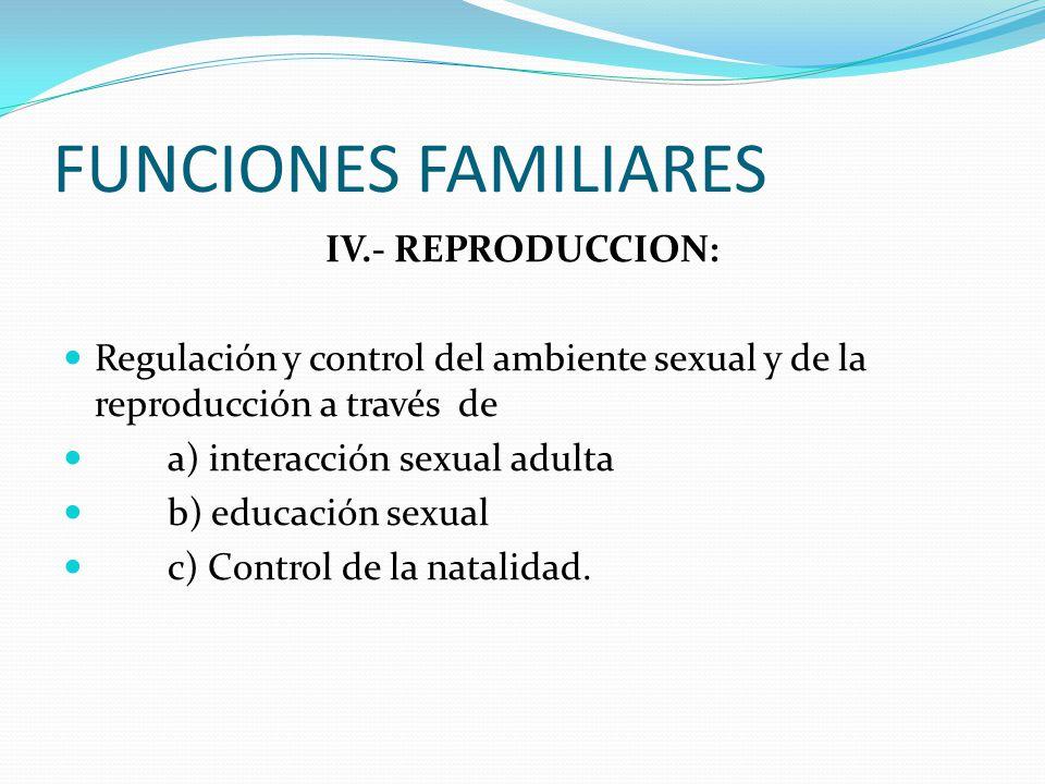 FUNCIONES FAMILIARES IV.- REPRODUCCION: