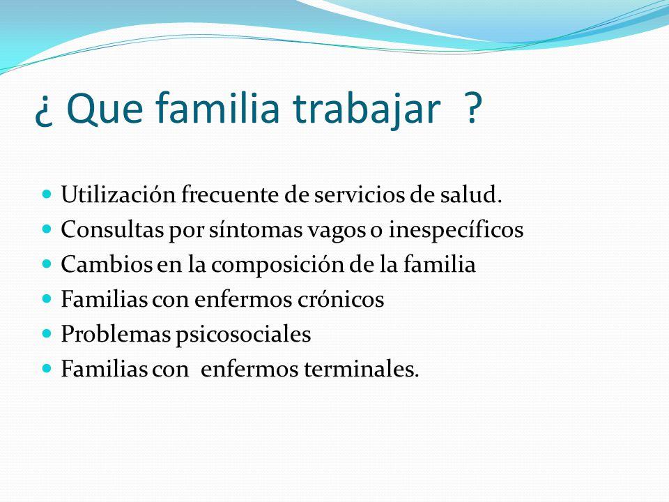 ¿ Que familia trabajar Utilización frecuente de servicios de salud.