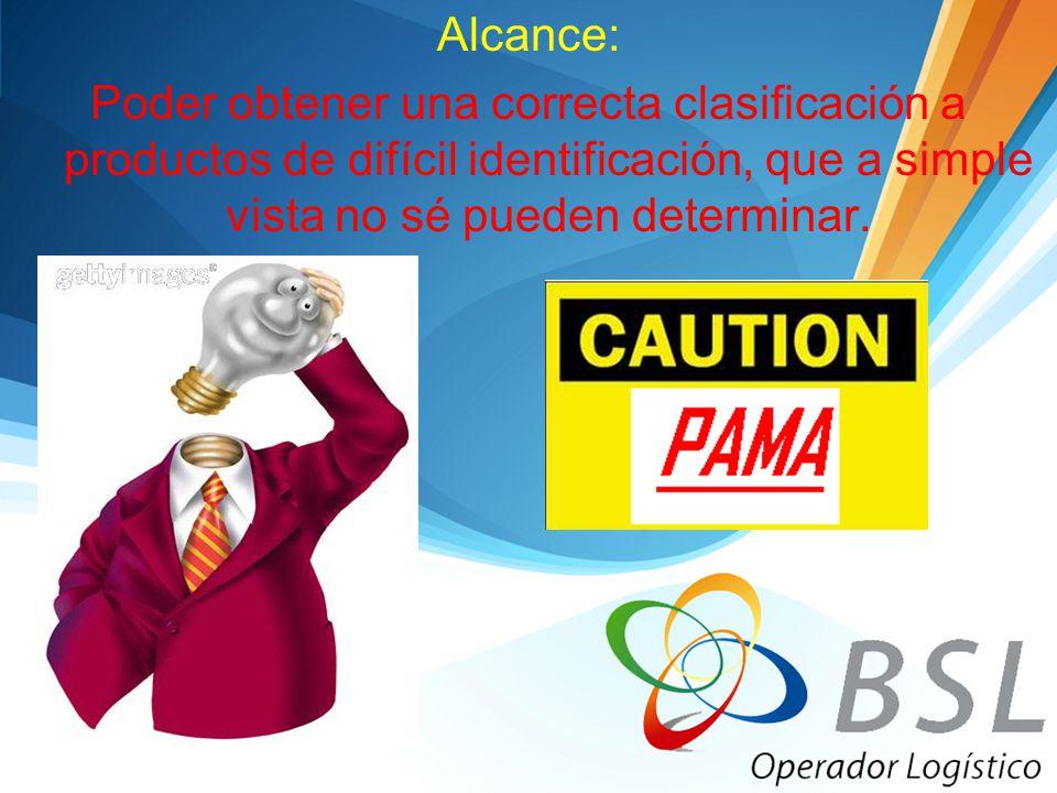 Alcance: Poder obtener una correcta clasificación a productos de difícil identificación, que a simple vista no sé pueden determinar.