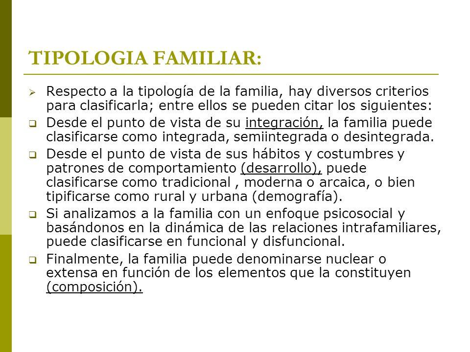 TIPOLOGIA FAMILIAR: Respecto a la tipología de la familia, hay diversos criterios para clasificarla; entre ellos se pueden citar los siguientes: