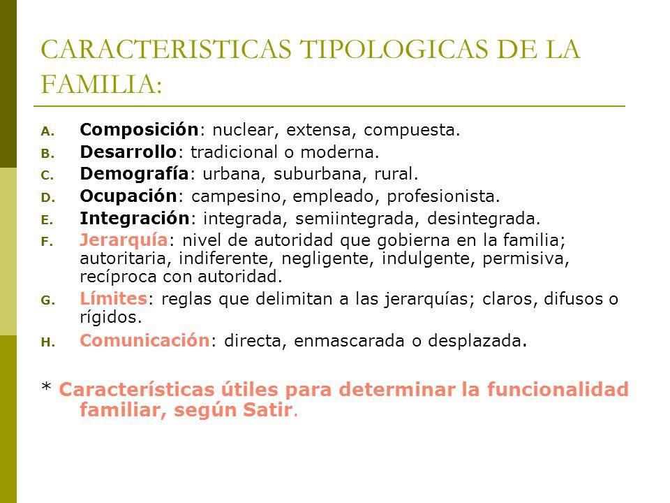 CARACTERISTICAS TIPOLOGICAS DE LA FAMILIA: