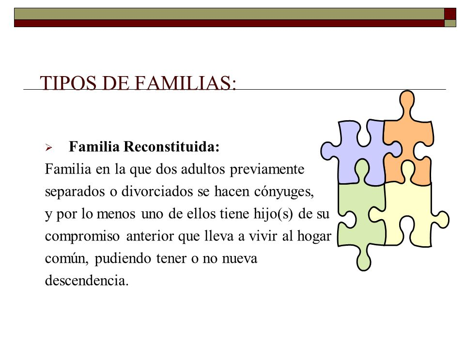 TIPOS DE FAMILIAS: Familia Reconstituida: