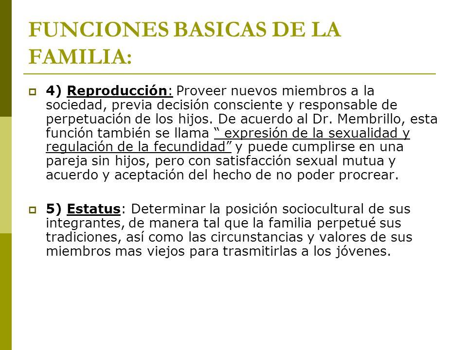 FUNCIONES BASICAS DE LA FAMILIA: