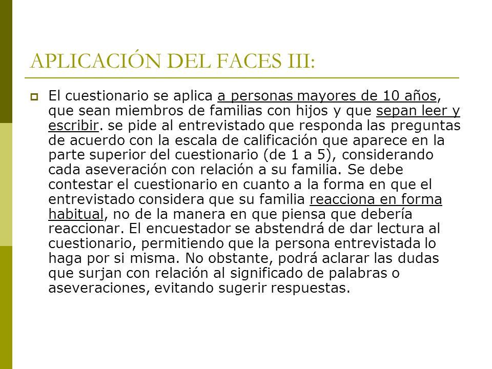 APLICACIÓN DEL FACES III:
