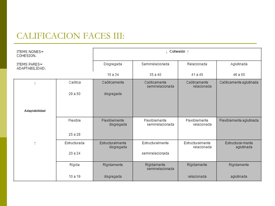CALIFICACION FACES III: