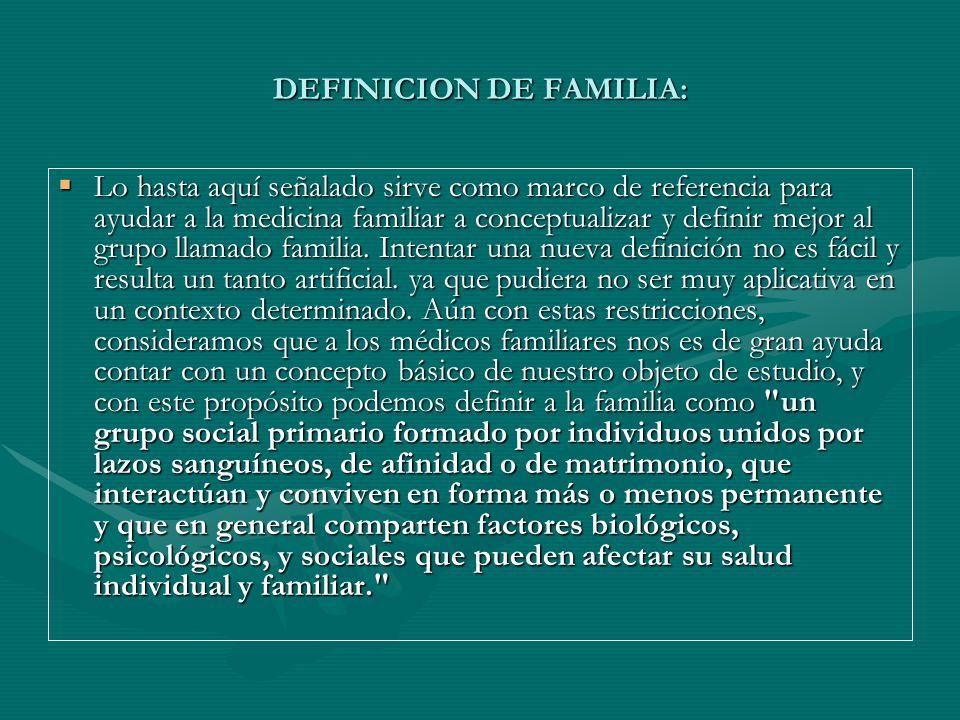 DEFINICION DE FAMILIA: