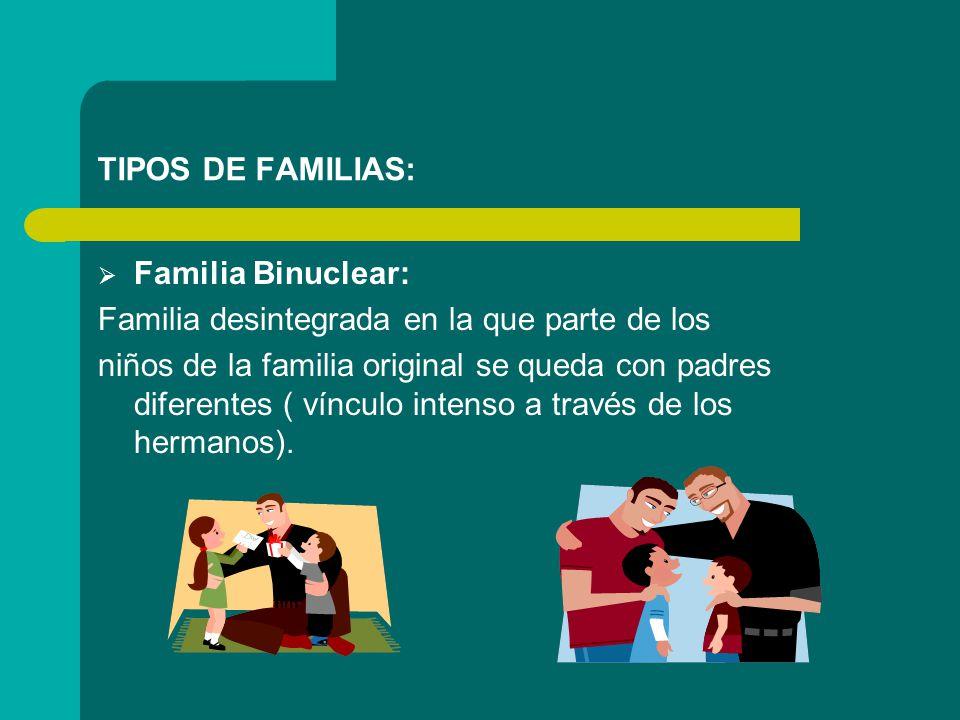 TIPOS DE FAMILIAS: Familia Binuclear: Familia desintegrada en la que parte de los.
