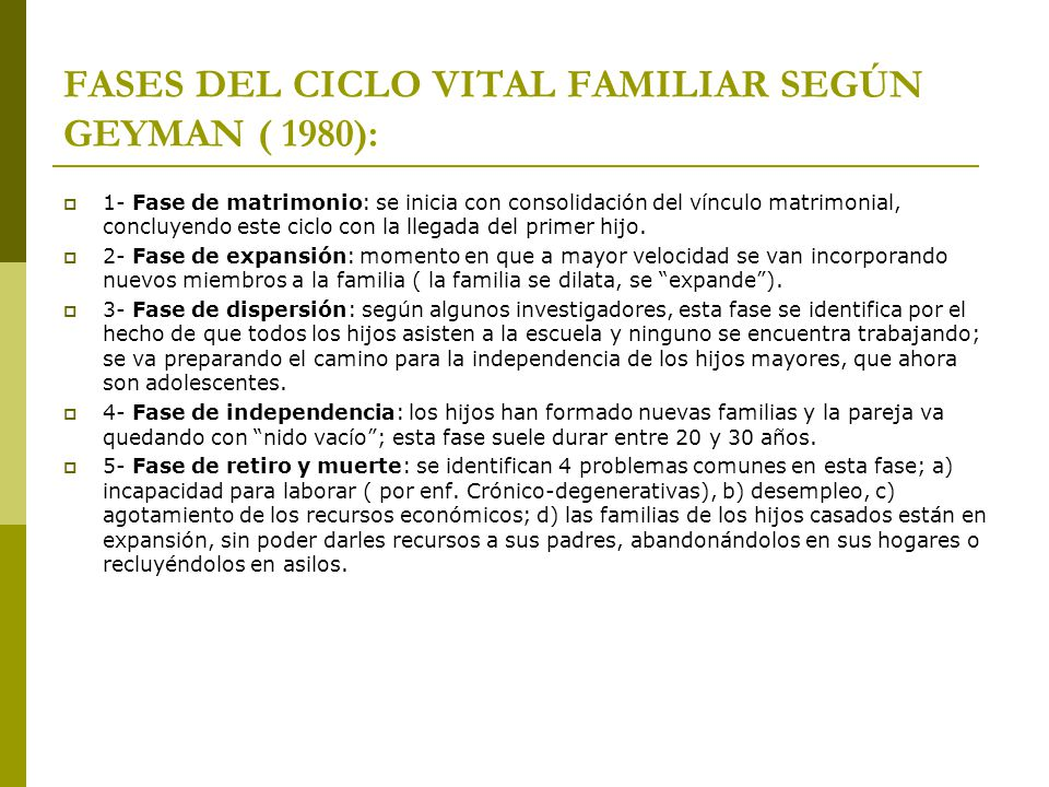 FASES DEL CICLO VITAL FAMILIAR SEGÚN GEYMAN ( 1980):