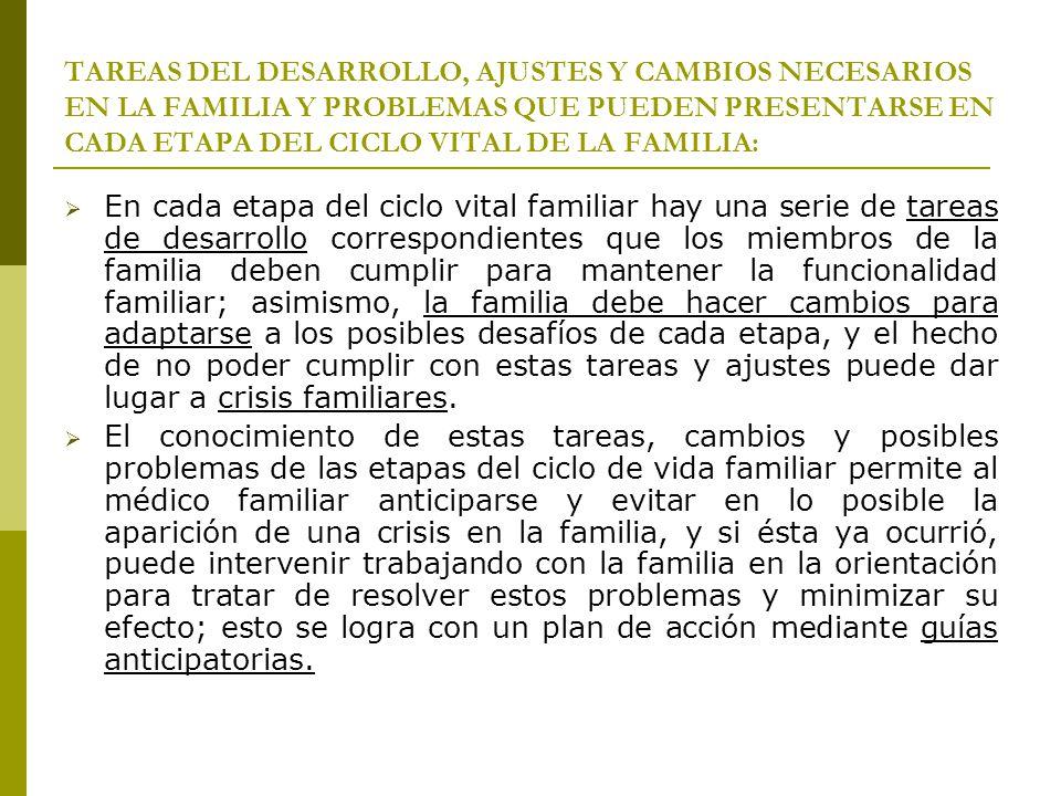 TAREAS DEL DESARROLLO, AJUSTES Y CAMBIOS NECESARIOS EN LA FAMILIA Y PROBLEMAS QUE PUEDEN PRESENTARSE EN CADA ETAPA DEL CICLO VITAL DE LA FAMILIA: