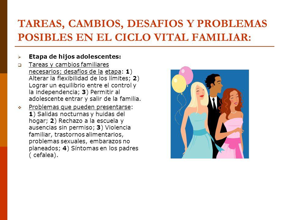 TAREAS, CAMBIOS, DESAFIOS Y PROBLEMAS POSIBLES EN EL CICLO VITAL FAMILIAR: