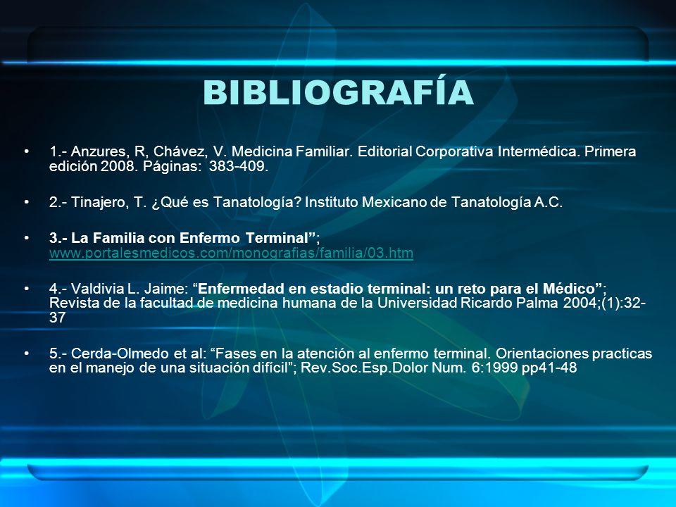 BIBLIOGRAFÍA 1.- Anzures, R, Chávez, V. Medicina Familiar. Editorial Corporativa Intermédica. Primera edición 2008. Páginas: 383-409.