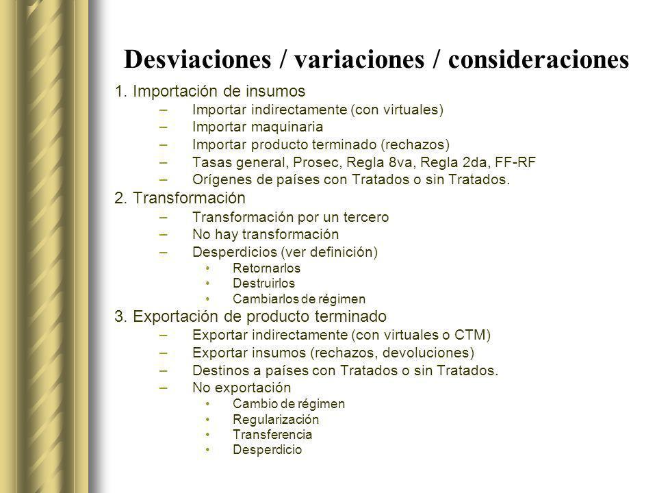 Desviaciones / variaciones / consideraciones