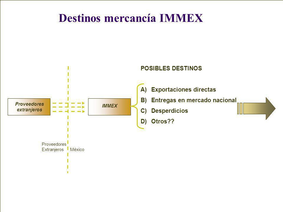 Destinos mercancía IMMEX