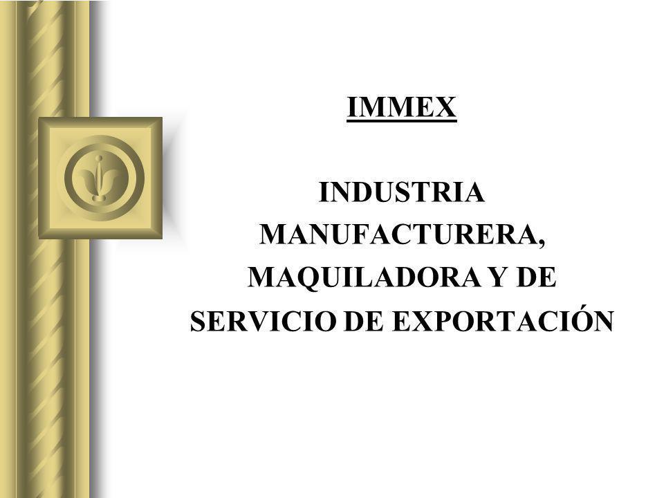 IMMEX INDUSTRIA MANUFACTURERA, MAQUILADORA Y DE SERVICIO DE EXPORTACIÓN