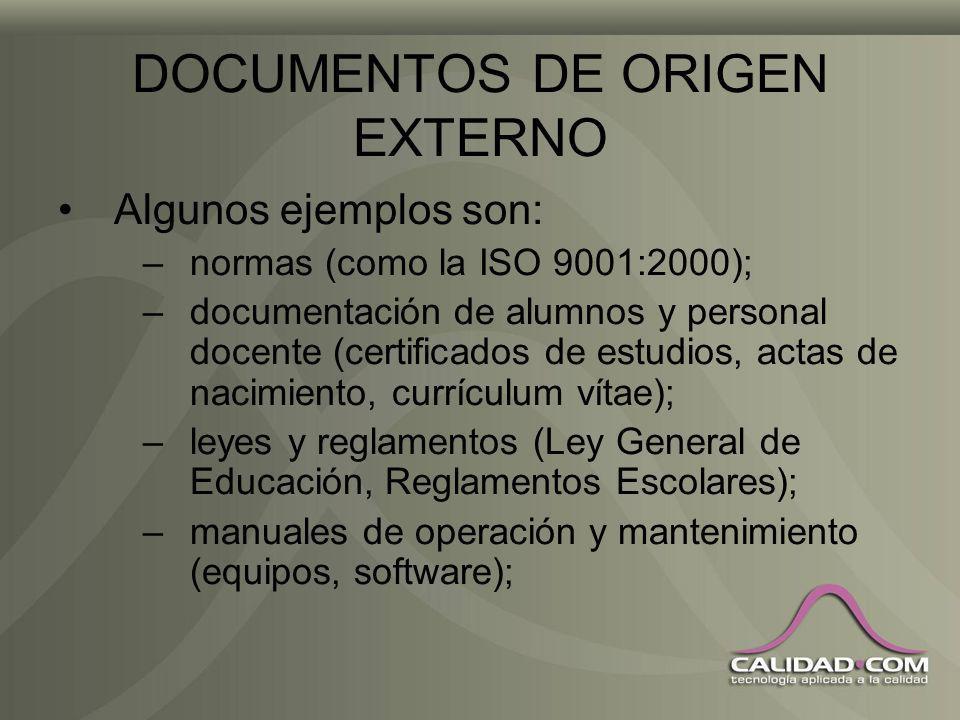 DOCUMENTOS DE ORIGEN EXTERNO