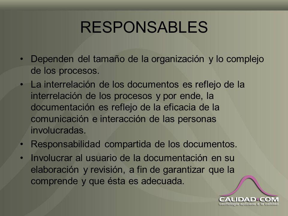 RESPONSABLES Dependen del tamaño de la organización y lo complejo de los procesos.