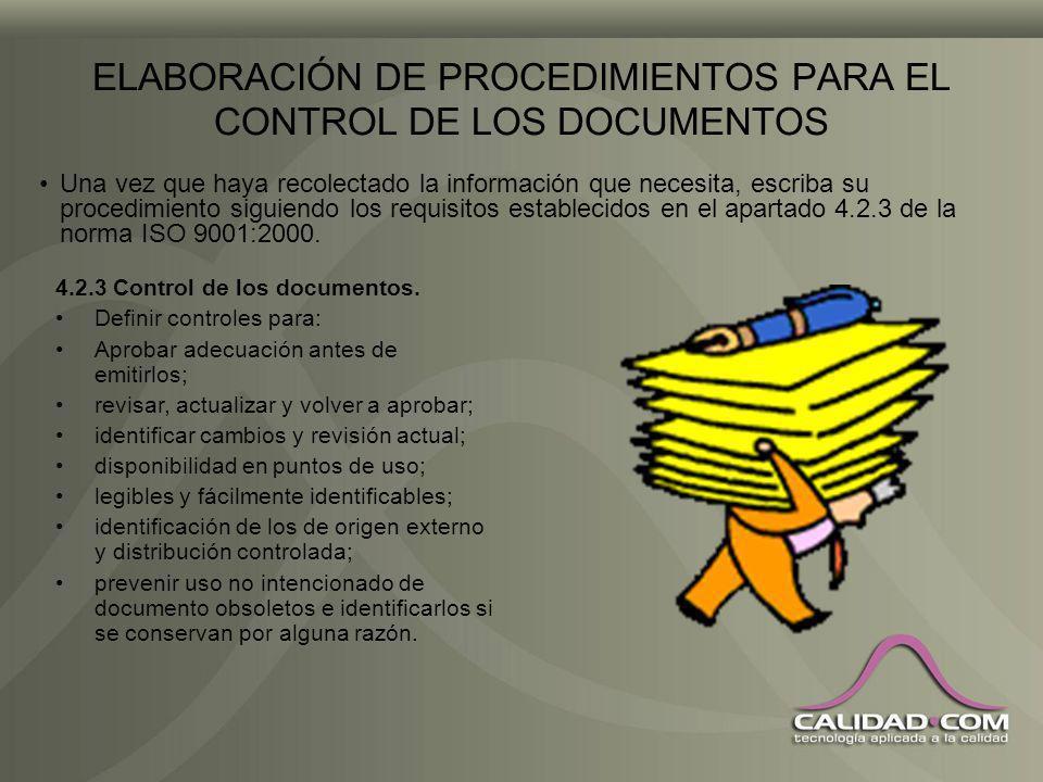 ELABORACIÓN DE PROCEDIMIENTOS PARA EL CONTROL DE LOS DOCUMENTOS