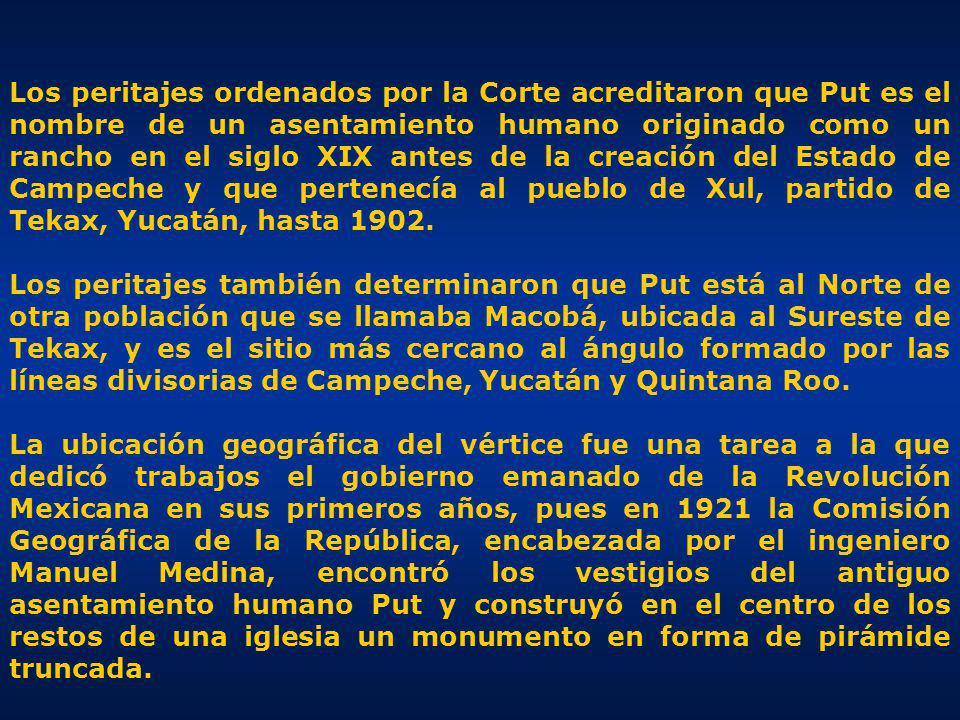 Los peritajes ordenados por la Corte acreditaron que Put es el nombre de un asentamiento humano originado como un rancho en el siglo XIX antes de la creación del Estado de Campeche y que pertenecía al pueblo de Xul, partido de Tekax, Yucatán, hasta 1902.