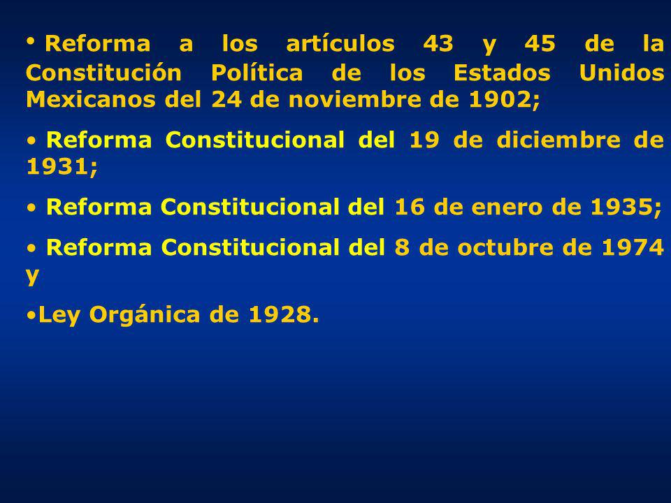 Reforma a los artículos 43 y 45 de la Constitución Política de los Estados Unidos Mexicanos del 24 de noviembre de 1902;
